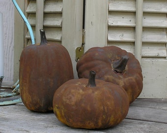 Rusty Pumpkins set of 3  Fall Autumn Decor