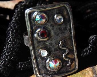 RING, Silver Oxidized,  Swarovski Crystals,  OOAK,  MODERN, Minimalist,  Avant Garde, Recktangle, Stylish,  Adjustable, Elegant, Chic