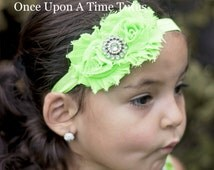 Lime Green Shabby Flower Rose Headband - Photo Prop - Costume Hair Piece - Bright Green Bow - Baby or Toddler Girls Hair Piece Accessories