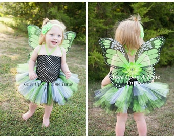 Lime Green Monarch Tutu Dress - Newborn Baby 3 6 9 12 18 24 Months 3T 4T 5 6 .. Monarch Butterfly Halloween Costume