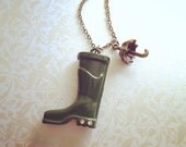 Walk in the Rain Vintage Style Necklace. Miniature Green Rain Boot. Whimsical Jewelry. Brass Umbrella. Under 30. Cute. Fun. Showers. Spring