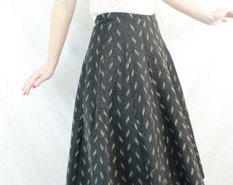 1950s 1960s Grey Wool Swing Circle Full Skirt Size Small