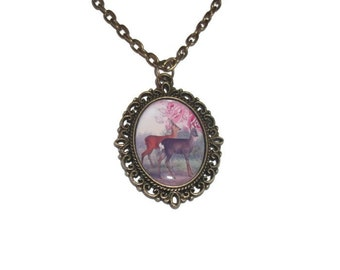 Deer and Stag Cameo Necklace, Bronze, Vintage Animal, Pink Cute Jewellery
