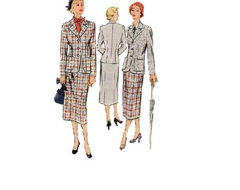 1940s McCall 8253 Vintage Sewing Pattern Jacket Fitted Skirt Business Casual Fashion Notched Lapel Uncut Bust 34