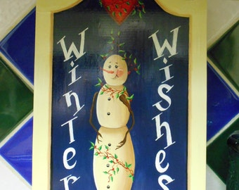 Christmas Sign, Winter Wishes, Snowman Sign, Holiday Decoration, Whimsical Plaque, Holiday Door Hanger, Christmas Door Hanging, Wood Sign
