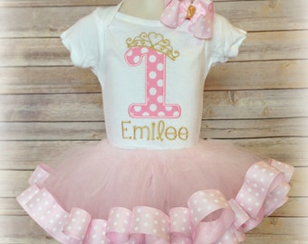 Birthday Princess First Birthday Polka Dot Ribbon Trim Tutu Set