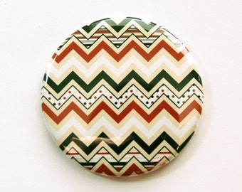 Chevron Mirror, Pocket mirror, mirror, purse mirror, Gift for her, glass mirror, chevron, black, red (3523)