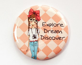 Pocket mirror, mirror, purse mirror, Explore, Dream, Discover, gift for her, Orange, gift for girl, photographer (3570)