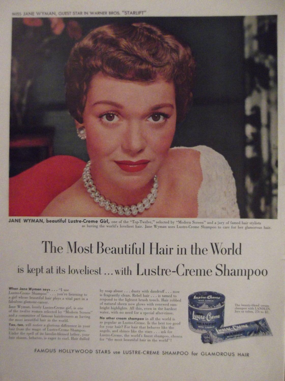 Jane wyman lustre creme shampoo original vintage advertisement for Lustre original