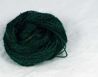 Ten green bottles -   Hand  spun yarn. pure mohair. 2 ply hand dyed and pocessed, Pure Australian  wool.