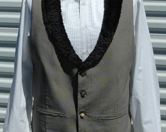 L Men Steampunk Vest with Faux Fur Collar The Dorian