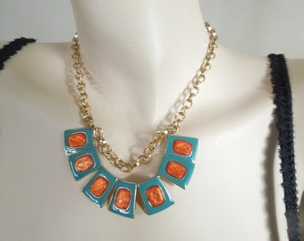 Retro Necklace Enamel Turquoise Blue Orange Panel Squares Adjustable