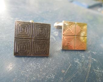 Vintage Swank Cuff Links Cufflinks Geometric Square Mod Modernist Modern
