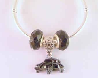 VW Beetle Bangle + 2 Beads