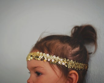 Child/Baby Size Gold Sequin Headband