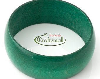 Clearance: Wooden bangle - emerald green bangle made of wood - size S