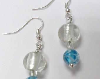 Beaded Earrings - Powder Blue & White