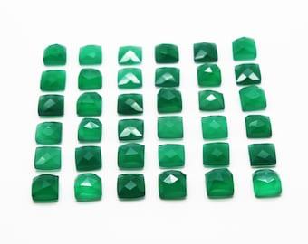 GCF-1030 - Green Onyx Cabochon - 8x8mm Square - Gemstone Cabochon - Faceted Cabochon - 1 Pc