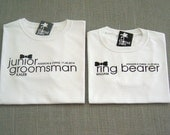 SALE - Junior Groomsman and Ring Bearer Black Bow Tie Personalized Wedding T-Shirts : 2 Shirts For 25 Dollars