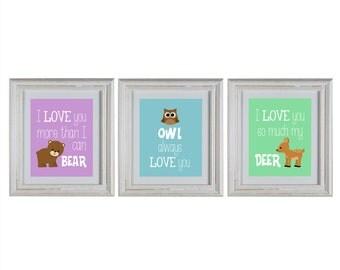 Woodland Nursery Wall Art DIY Printable Set with bear, deer and owl prints