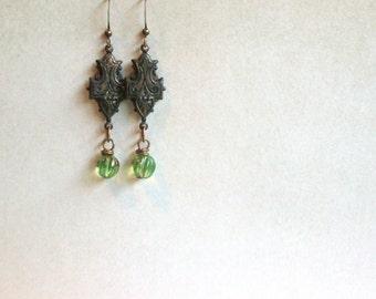 Descendants Earrings lichen green vintage brass by Nancelpancel on Esty