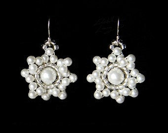 Delicate Blossoming Flowering Pearl Sun Earrings