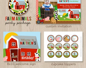 Farm Animal Birthday Party Package - Farm Birthday - Farm Party - Down on the Farm - Printable Farm Party