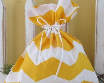 Yellow & White Chevron fabric gift bag, Little.  Reusable gift bag.