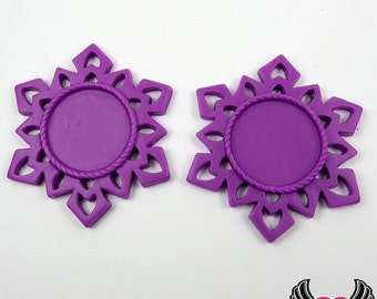SNOWFLAKE STAR CAMEO SeTTING Purple 4pc Fits 25mm Cameos, Resin Cameo Setting, Blank Frame, Bezel Pendant