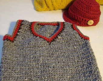 Crochet Baby Boy Vest and Hat Set