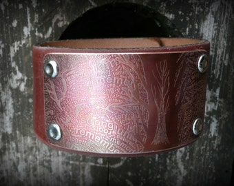 Family tree, etched copper, re-purposed leather cuff, by Recreate4U