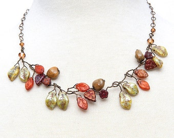Autumn Beaded Leaf Necklace, Rust Orange Green Brown Vine Necklace, Nature Jewelry
