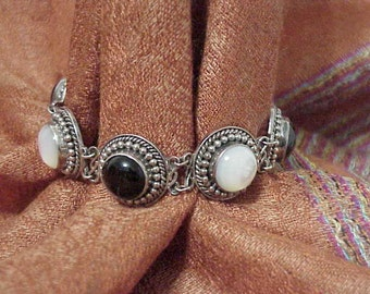 Sterling Silver Gemstone Bracelet w/  Exquisite Cabochons  925