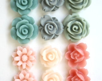 12 pcs Resin Flower Cabochons Assorted Sizes Sampler Pack - Pretty Pastel Mix - Small Flower