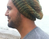 Slouchy rib hat, unisex, northwoods green and browns, ready to ship