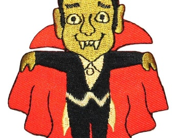 ID #0889 Cartoon Dracula Vampire Halloween Embroidered Iron On Applique Patch