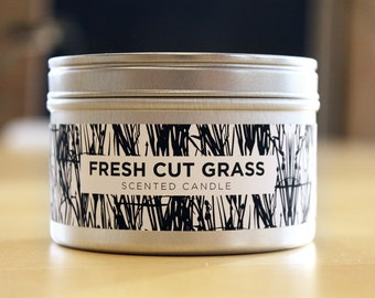 Fresh Cut Grass 8oz Soy Candle with Wood Wick
