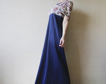 Floral white and navy blue maxi dress