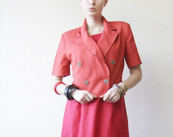 Vinage red linen double breasted cropped blazer jacket S M