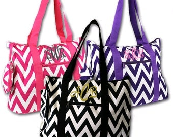 Monogram WEEKENDER Tote Bag - Personalized Weekend Tote Bag - Monogrammed Chevron Tote Bags - Available in several Gorgeous Colors!