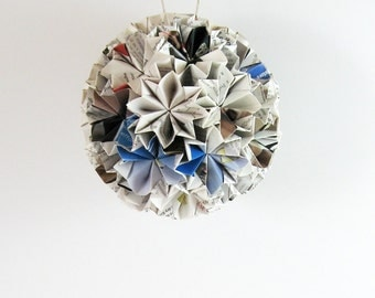 Paper Ornament Origami Kusudama Ball - Paper Ball of Stars - Modern Home Decor - Recycled Paper Sculpture - Geometric Art  Paper Anniversary