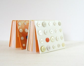Blank Art Book - Coptic Stitched Journal - Orange and White Modern Art Decor - Vintage Button Art - 240 Page Journal - Hardcover Journal