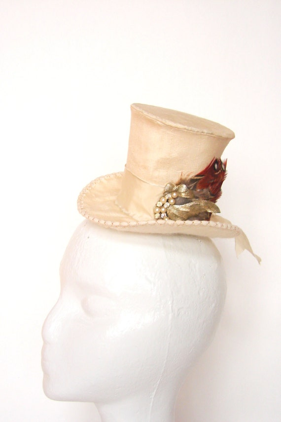 The Frankie, Mini Topper of Silk Dupioni with Vintage Brooch, Bridal, Steampunk, Victorian
