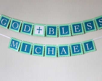 GOD BLESS Banner | Baptism Banner | Mint and Blue Banner | First Communion Banner | Christening Banner | Design your own Banner