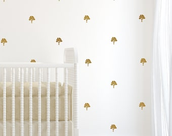 Gold wall decals sticker wall art decals tree decals wall art, gold tree decal pattern for nursery - set of gold tree decals