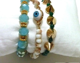 A set of 3 summer BRACELETS, turquoize faceted beads, EVIL EYE, spikes, boho style, green turmaline, arm candy, gold bracelets, beach jewels