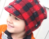 Winter Hat for Boy - Boys Newsboy Hat for Winter - Buffalo Red and Black Hat - Toddler Warm Winter Hat - Warm Toddler Boy Hat - Sizes