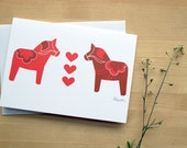 Red Dala Horse Swedish Greeting Card (Blank)