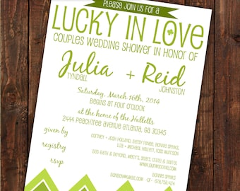 """CUSTOMIZED // PRINTABLE // Wedding Shower Invitation // Couples """"Lucky in Love"""" Theme // Lime Green"""