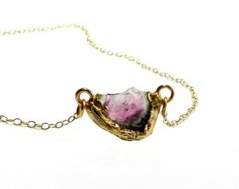 tourmaline necklace, tourmaline slice, watermelon tourmaline, raw tourmaline, gold necklace, layering necklace